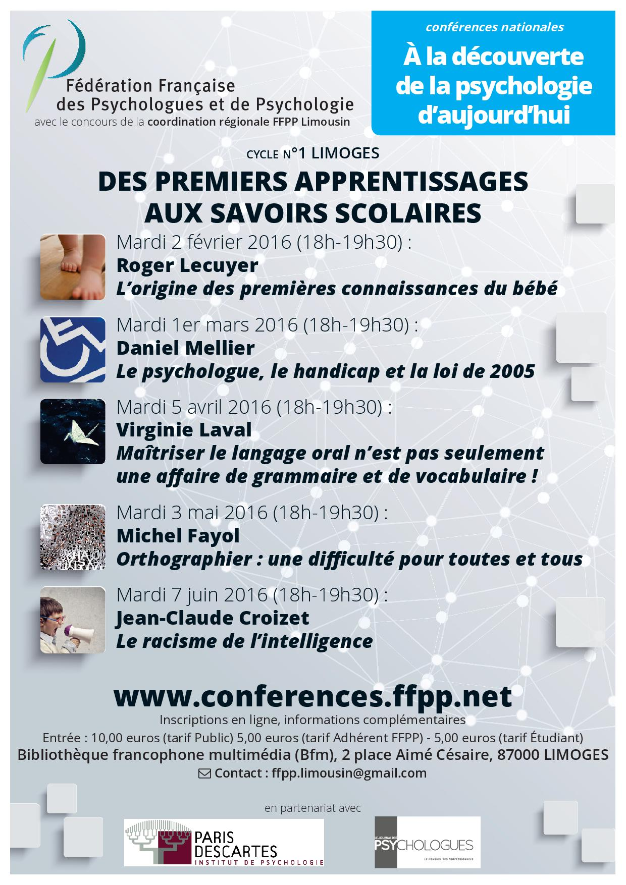 Affiche Conferences cycle 1 Limoges